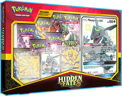 Pokemon-Hidden Fates Premium Powers Collection Shiny Rayquaza/Solgaleo/Lunala GX