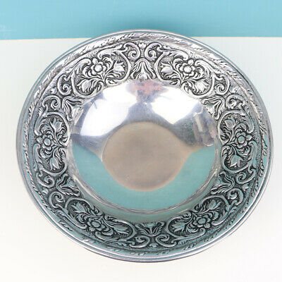 VINTAGE RWP The Wilton Co. Metal Serving Bowl Pewter Silver Floral Etched 13""