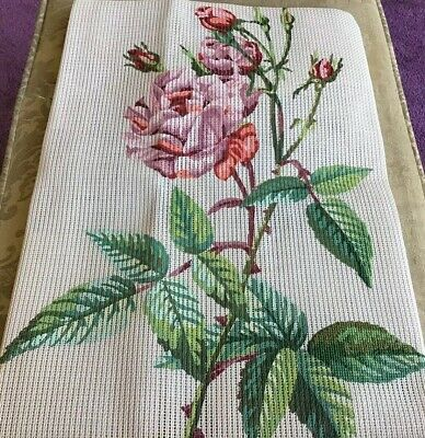 Vintage Redoute  Rose  Petit Point Tapestry Canvas Woman's Journal 1958