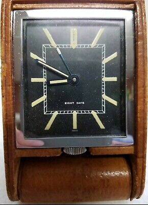Vintage Swiss LeCoultre 8 Day Folds Leather Desk Alarm Travel Clock Works