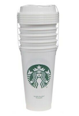 5 - Starbucks Reusable HOT To-Go CUPS Classic Logo White BPA Free *LOT SET*