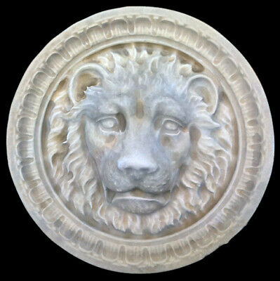 Roman Lion Head round wall sculpture plaque