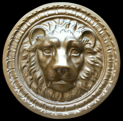 Roman Lion Head round wall sculpture plaque in Bronze finish
