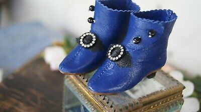 "Leather shoe""Dark Blue"" for antique FASHION doll French style.(2,36inch/60mm)"