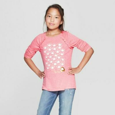 Girls' Long Sleeve Be Ewe Cozy Pullover - Cat & Jack™ Coral M 7/8