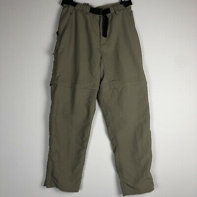 The North Face Women's Size M Convertible Nylon Hiking Cargo Pants Khaki Belted