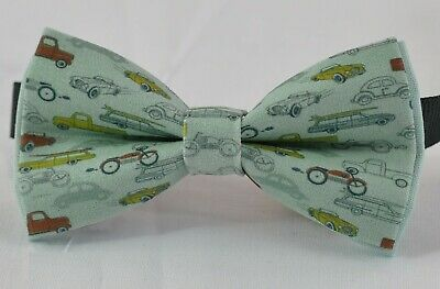 Boy Kids Baby Page Boy Blue Car Cars100% Cotton Bow Tie Bowtie 1-6 Years Old