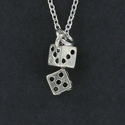 Pair of Dice Necklace - Stainless Steel Charm Double Craps Gambling Game Die NEW