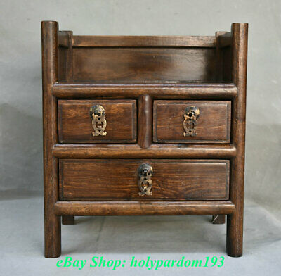 """14"""" Old China Huanghuali Wood Dynasty Palace 4 Foot Chan Drawer Locker Cabinet"""