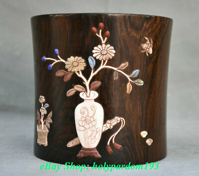 """6"""" Old Chinese Huanghuali Wood inlay Shell Palace Flower Brush Pot Pencil Vase"""