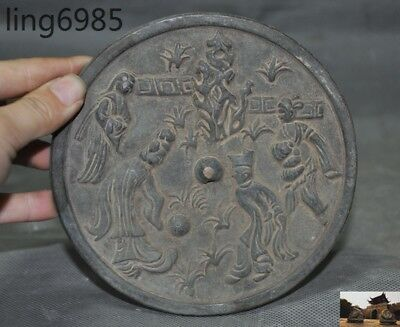 "5"" Old Chinese Fengshui Pure Bronze Ancient People Figure Exorcism Bronze mirror"