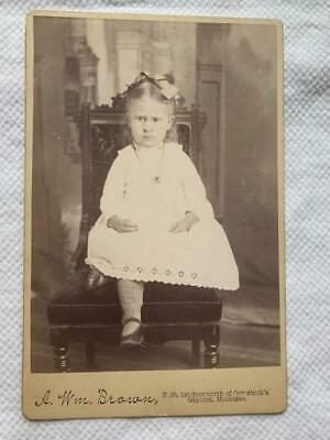 Antique Cabinet Card Photo Victorian Pretty Little Girl Gaylord Michigan
