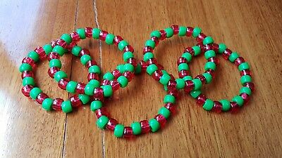 Set Of 5 Christmas themed Kandi Rave wear Bracelets. Clear red and solid green