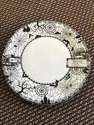 (4) Ciroa Wicked Haunted House Spider Halloween Salad Plates 8 in.  ~NEW ~