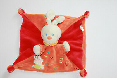 Doudou Nicotoy Lapin Plat Rouge Orange Abc Coeur