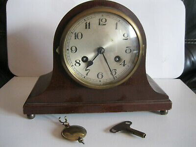 NAPOLEAN HAT STYLE MANTLE CLOCK  WITH PENDULEM AND KEY. C.HODGE name