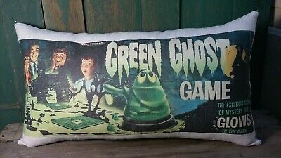 Primitive Vintage Fall Halloween Fabric Green Ghost Game Box Pillow Decoration