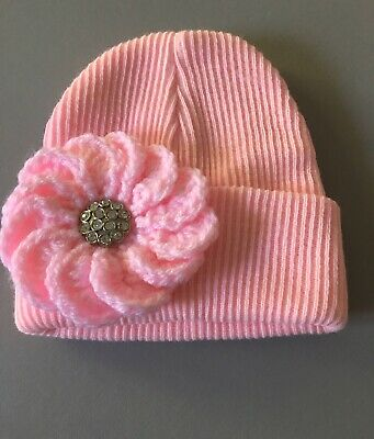 Baby Girls Knitted Beanie Hat Turn Up With a Flower and Bling Button 0-6 Months