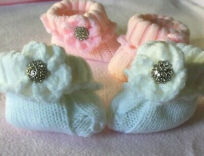 Two Pairs of 0-3 Months Baby Bootees with Bling