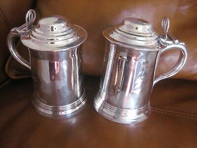tankards pair victorian  1/2 pint silver on copper
