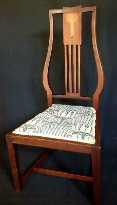 Antique Arts And Crafts Inlaid Stylised Lyre Back Low Chair Nursing Chair
