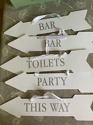 Wedding / Party Cardboard Signs White & Silver X5