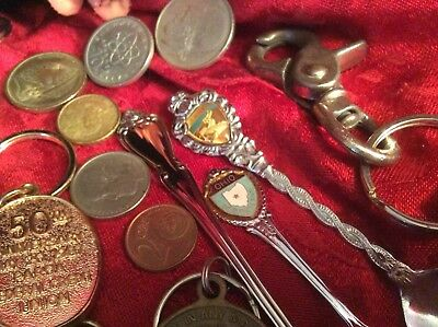 Junk Drawer Lot Old Spoons Foreign Coins Keychain memories Collectables
