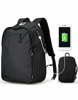 Laptop Backpack,Water Resistant w//USB Charging Port Fits Under 17 Inch Laptop-Bk