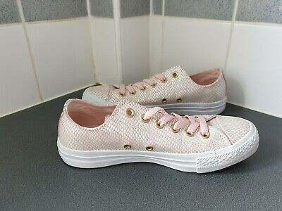 ** Worn Once ** Baby Pink  & Gold Converse All Star Size Uk 5