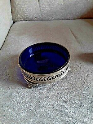 Silver Plated Mustard Pot & Salts & Epns Wine Coaster All With Liners