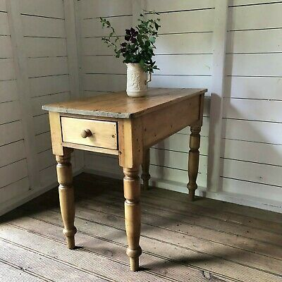 Antique Pine Small Kitchen Serving Table & Drawer Hall Console Side Table Del Ex
