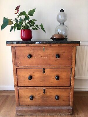 Fabulous Antique Solid Pine Early Victorian Chest of Drawers Granite Top