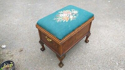 Old Big Antique Tapestry Top Chest,Stool Blanket Box Cabriole Leg Ball Claw Foot