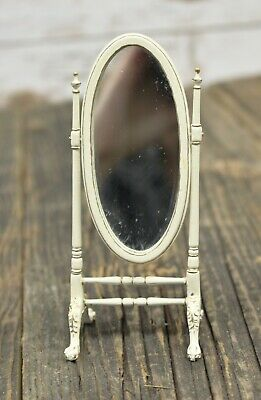 Bespaq Miniature Dollhouse White With Gold Trim Floor Standing Mirror 1:12 Scale