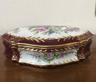 Beautiful Antique French Box Hand Painted Burgundy Red/Gold Flowers