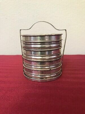 Antique Birks Sterling Silver & Crystal Glass Coaster Set Of 9 w Holder