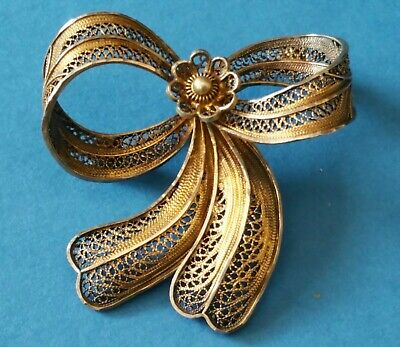 Antique Silver Gilt Filigree Beautiful Bow Brooch Pin.