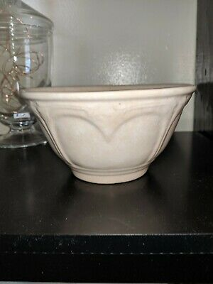 Unmarked Antique White Ironstone 4-cup Mixing Bowl Heart Embossed Floral Design