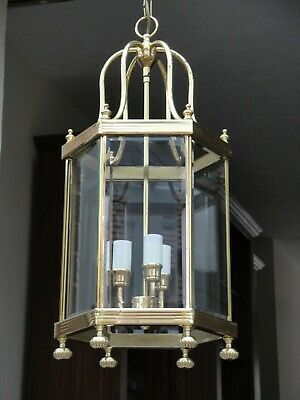 No. 2 of a Pair of Vintage Georgian Style Solid Brass Lanterns. Chandelier