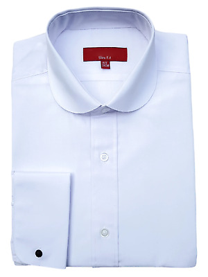 CR Men's White Penny Round Collar Double Cuff Shirt