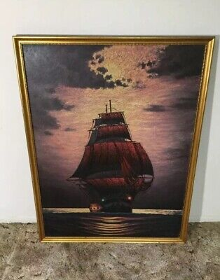 Original Vintage Wendt Ship Oil Canvas Painting  Signed  Very Rare 34x26 Damaged