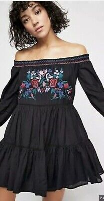 *NWT* Free People Womens Off-the-Shoulder Embroidered Boho Dress Size M Black