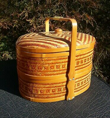 Vintage Chinese Wedding Basket - Double Tier - Bamboo