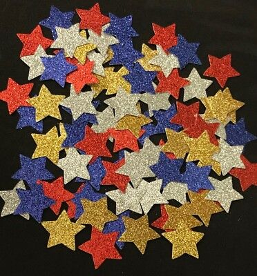 100   XL STAR Punchies -Adhesive Glitter Card  Scrapbooking Parties Paper Crafts