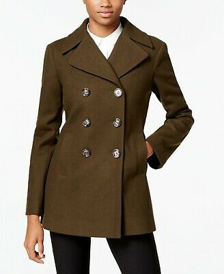 Kenneth Cole Wool Blend Double Breasted Peacoat Cabernet  NWT $225