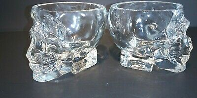 2 CRYSTAL HEAD Skull Head Vodka Shot Glass Whiskey Bar Ware  Nice Condition
