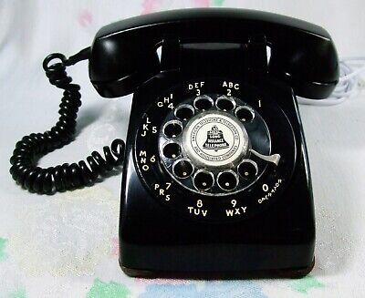 Vtg August 1952 BLACK Rotary Dial Telephone Western Electric 500 Restored Works!