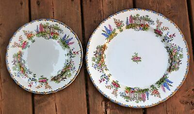 Aynsley Pair Of Plates. In The Garden Gate Pattern. One Dinner Plate & One Salad