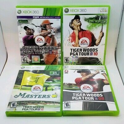 (4) Microsoft XBox 360 Golf Games, Tiger Woods PGA Tour 08 10 13 12 Masters