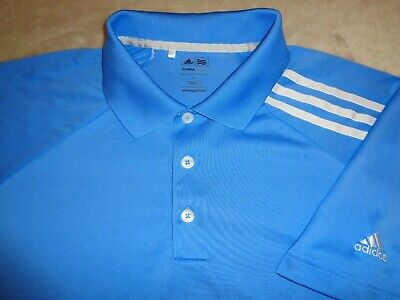 Mens- ADIDAS GOLF -CLIMACOOL Polo Shirt Sky Aqua Blue White Stripe L Large lite